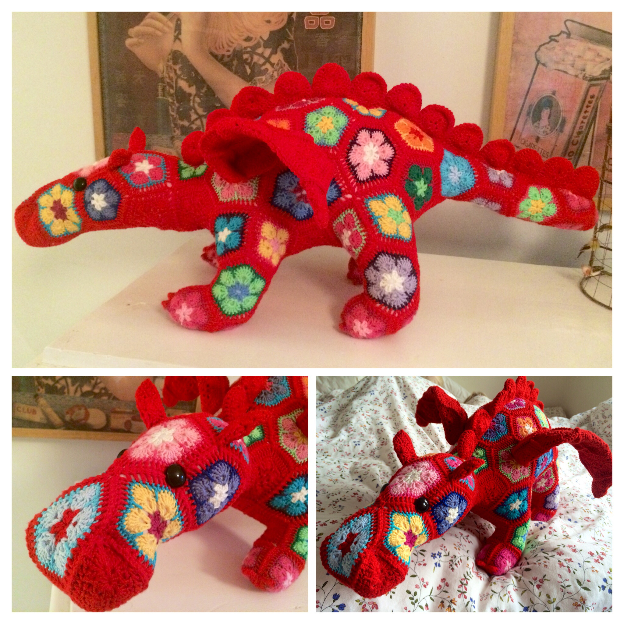 African Flower Crochet Dragon Pattern : Smaug the African Flower dragon - Inspiration - Virkning ...