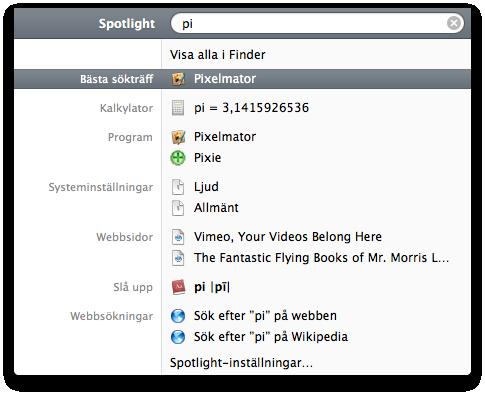 Spotlight i Mac OS X